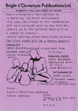 01 Bogle-L'Ouverture Publications 10th Anniversary (events leaflet). 1979. Huntley Archives at Londo