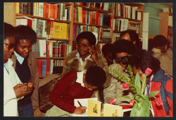20 L to R - Accabre Huntley _ Valerie Bloom (book signing). Huntley Archives at London Metropolitan