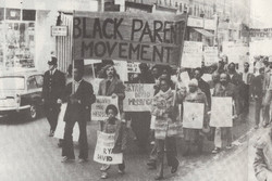 03 Black Parents Movement demonstration against the beating of Cliff McDaniel, London. 1973. Huntley