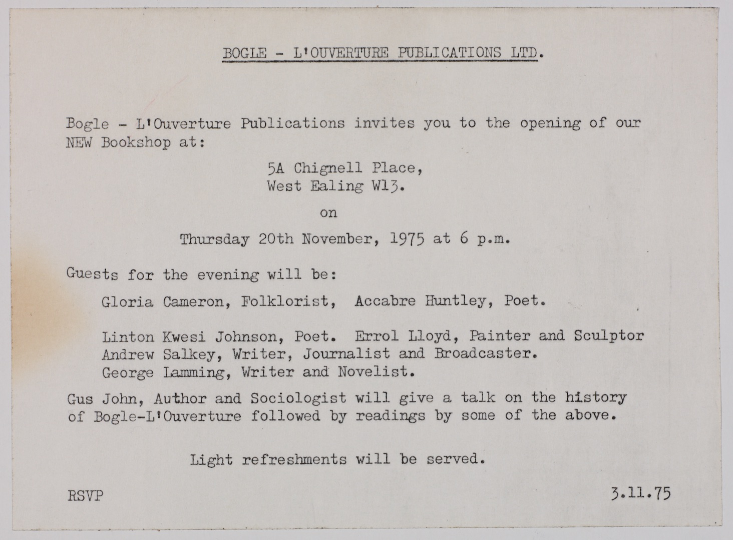 01 Bogle-L'Ouverture Bookshop Opening (invite). 20th Nov. 1975. Huntley Archives at London Metropoli