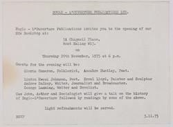 01 Bogle-L'Ouverture Bookshop Opening (invite). 20th Nov. 1975. Huntley Archives at London Metropoli