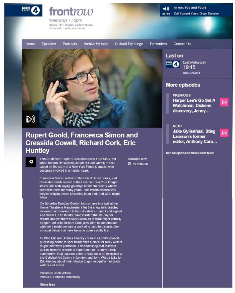 BBC Front Row 15/07/15