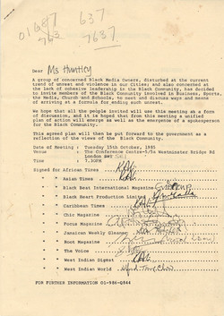 18 Letter to Jessica Huntley about the Black Media Owners meeting, London. 15th Oct. 1985. Huntley A