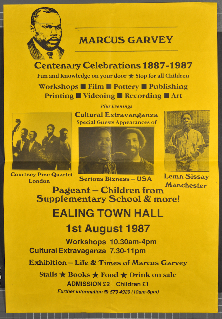 10 Poster for Marcus Garvey Centenary Celebrations 1887-1987. (Ealing Town Hall). 1987. Huntley Arch