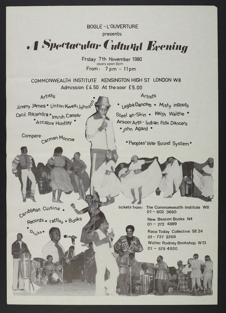 01 Bogle-L'Ouverture presents A Spectacular Cultural Evening. (leaflet). 7th Nov. 1980. Huntley Arch