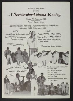 01 Bogle-L'Ouverture presents A Spectacular Cultural Evening. (leaflet). 7th Nov. 1980. Huntley Arch
