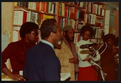 04 L to R - Ann Duncan, Eric Huntley (speaking) _ Imruh Bakari. Huntley Archives at London Metropoli