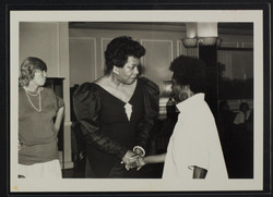 06 Maya Angelou, African-American author meeting Jessica Huntley. London. c1980s. Huntley Archives a