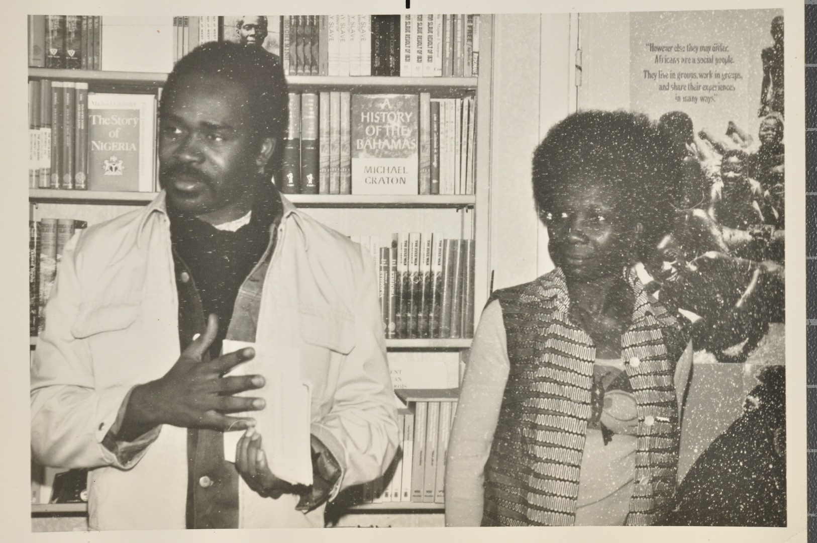 14 Surinamese visitors to the Bookshop with Jessica Huntley. c1970s. Huntley Archives at London Metr
