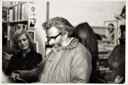 02 Sam Selvon, Trinidadian writer (reading) at the Bookshop. 1975. (Photo courtesy of Lance Watson).