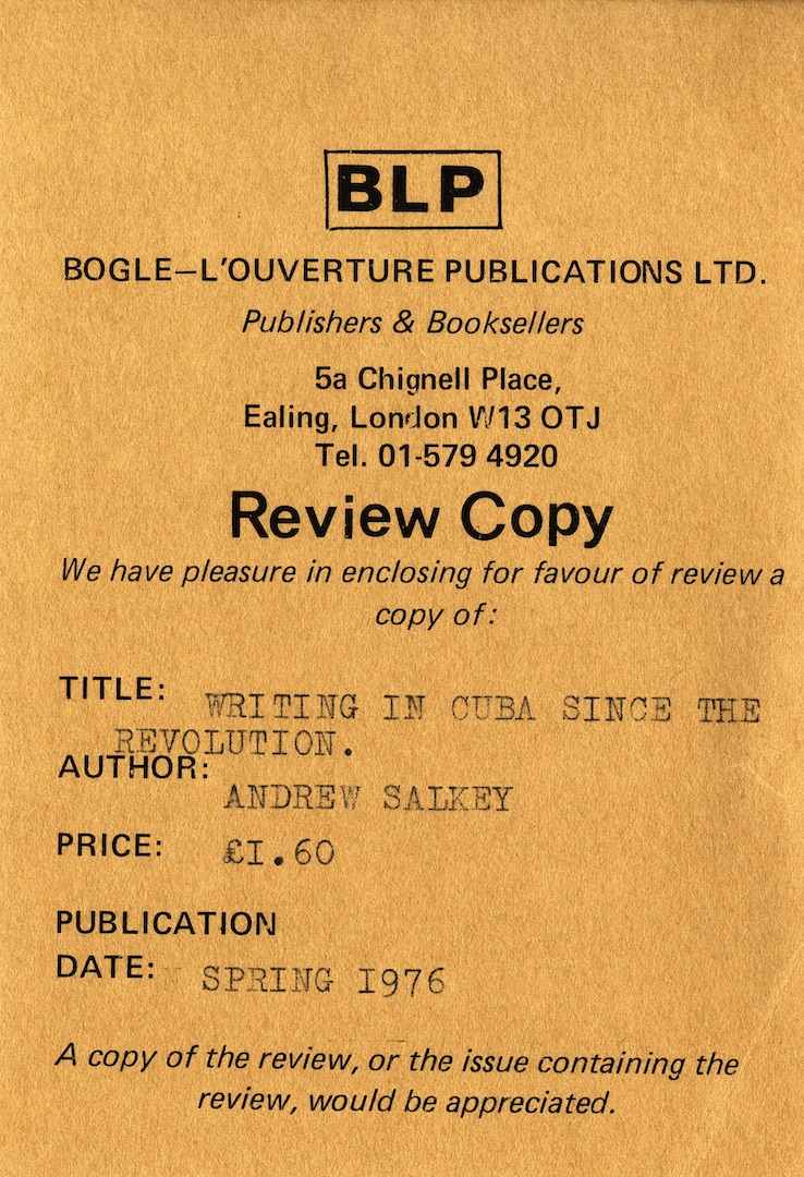 02 Writing in Cuba Since The Revolution-Andrew Salkey (review copy leaflet). Spring 1976. Huntley Ar