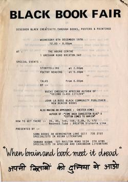03 Black Book Fair - Soma _ Sabarr Books, The Abeng Centre, Brixton. 6th Dec.1978. Huntley Archives