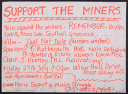 25 Support the Miners meeting poster (chaired by Jessica Huntley). 27th July 1984. Huntley Archives