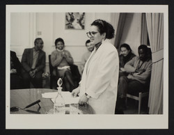 03 Jackie Kay (reading) at Institute of Education. c1980s. Huntley Archives at London Metropolitan A