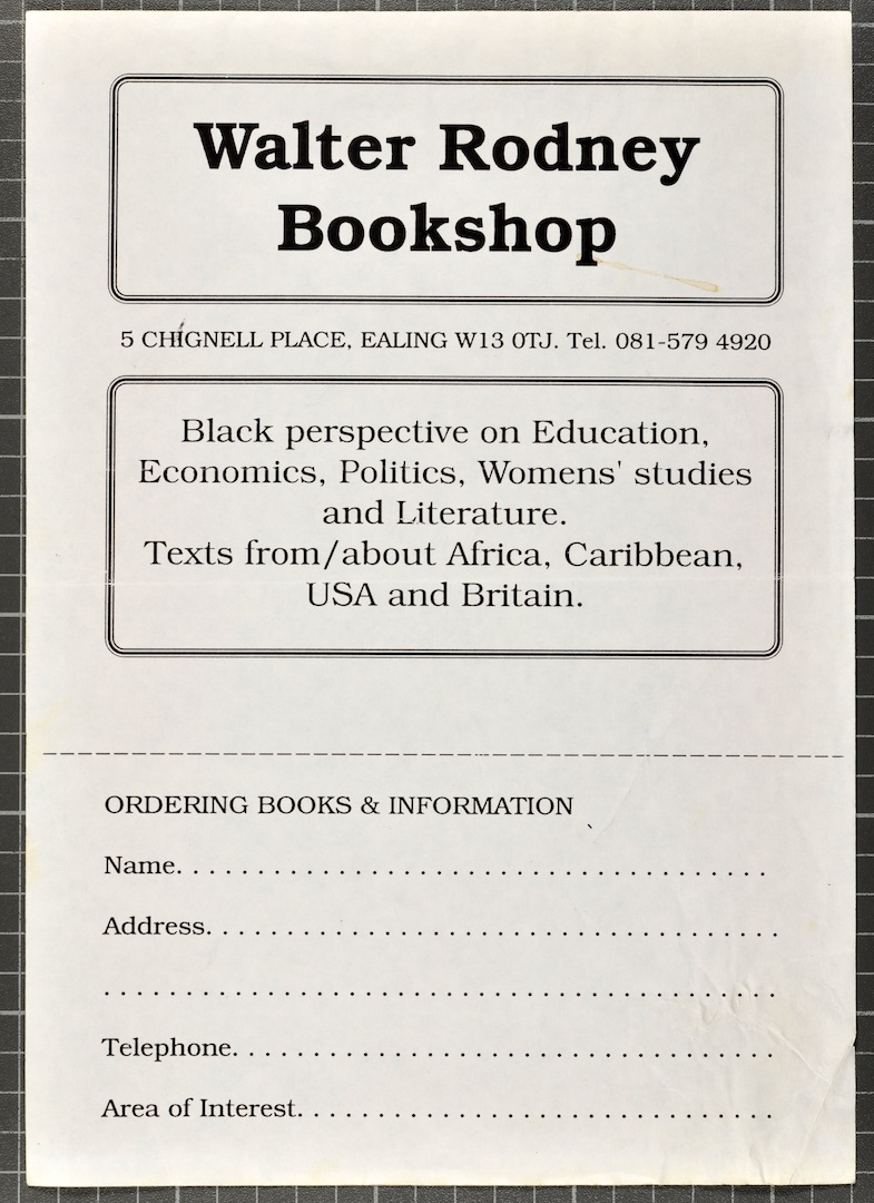 23 Walter Rodney Bookshop order form. c1980s. Huntley Archives at London Metropolitan Archives_Archi