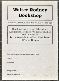23 Walter Rodney Bookshop order form. c1980s. Huntley Archives at London Metropolitan Archives_Archi