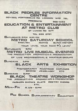 021 Black Peoples Information Centre, Portobello Rd. c1970s. Huntley Archives at London Metropolitan