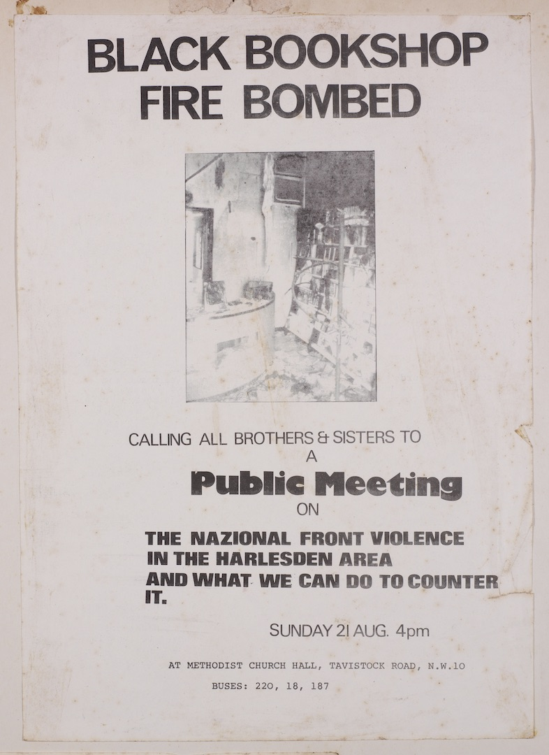 14 Black Bookshop Fire Bombed Public Meeting, 21st Aug. 1983. Huntley Archives at London Metropolita