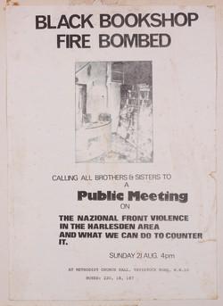 14 Black Bookshop Fire Bombed Public Meeting, 21st Aug. 1983. Huntley Archives at London Metropolita