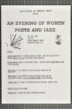 29 An Evening of Women Poets and Jazz, Priory Community Centre.  16th Dec. c1980s. Huntley Archives