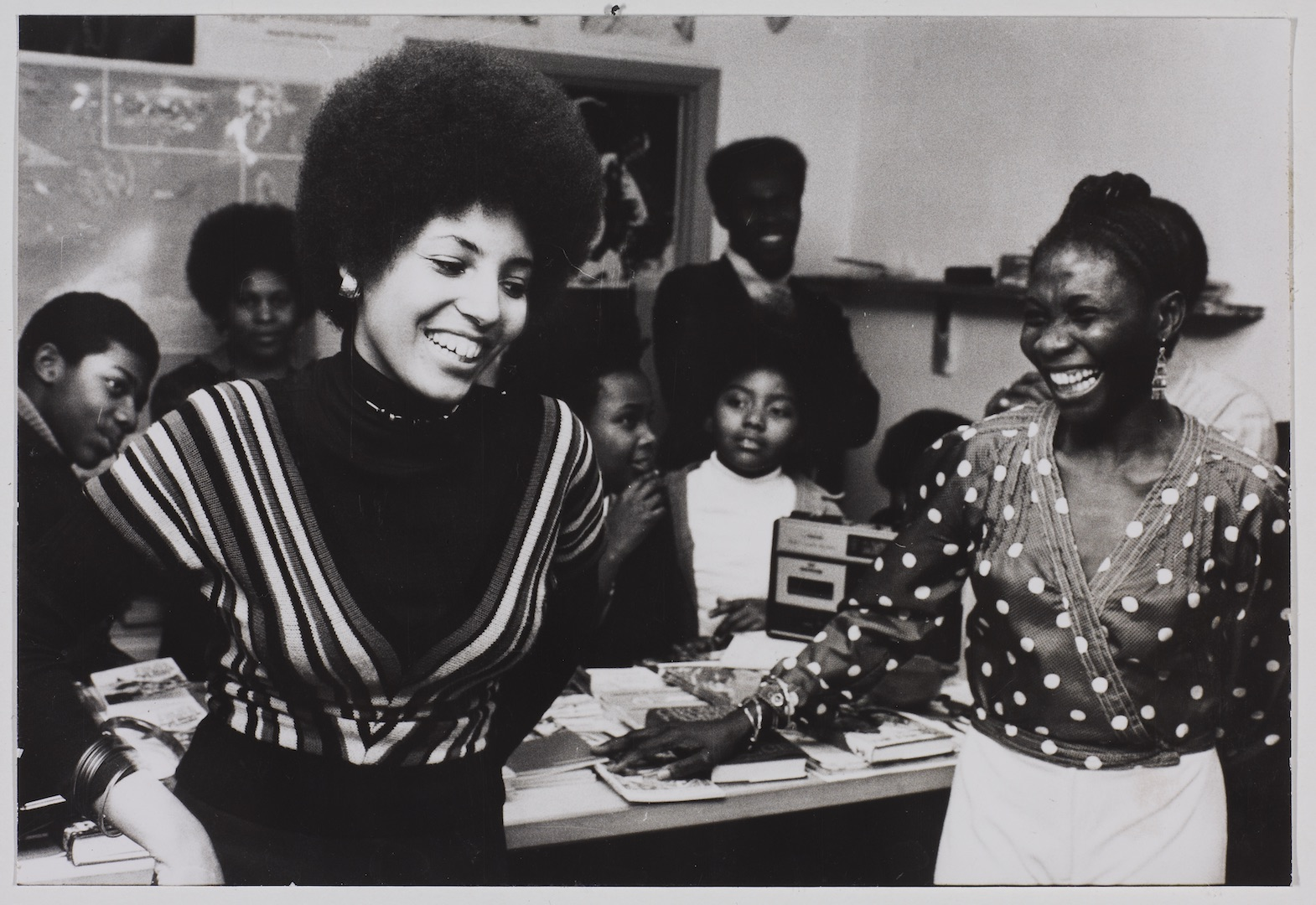 08 Leila Hussein _ Jessica Huntley at the Bookshop. c1970s. Huntley Archives at London Metropolitan