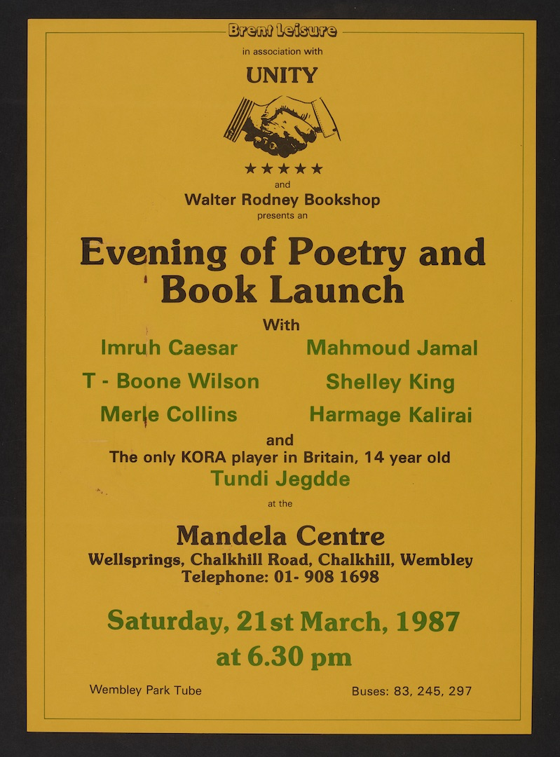 30 Unity _ Walter Rodney Bookshop Poetry _ Book Launch 21st March 1987. Huntley Archives at London M
