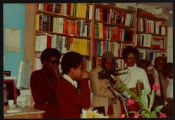 09 L to R - Ann Duncan, Valerie Bloom (performing) _ Imruh Bakari. Huntley Archives at London Metrop