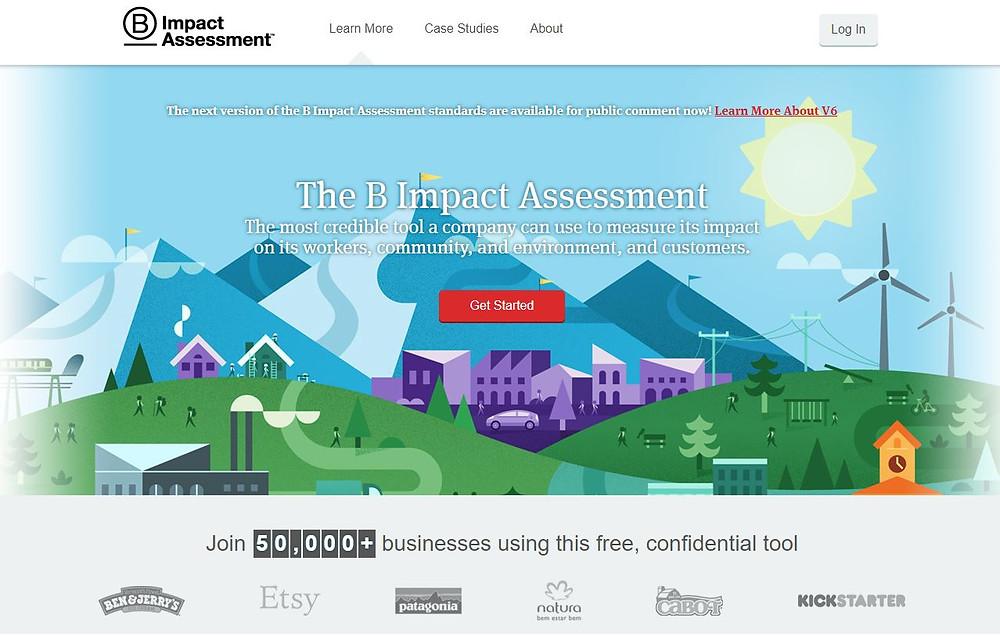 Screenshot taken from B-Impact Assessment Website (https://bimpactassessment.net).