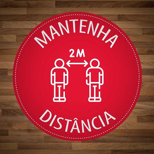 Adesivo de chão Mantenha a distância circular (40cm x 40cm) - 5 unidades