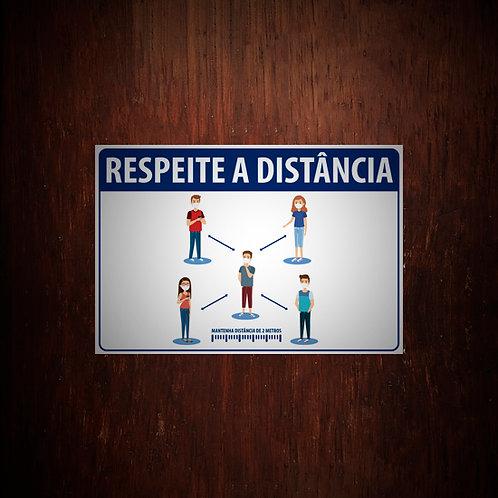 Adesivo Respeite a distância - 5 unidades (A4)