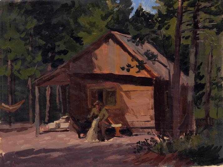 Sylvain Tesson - La cabane, huile sur papier, 30x40cm, 2010