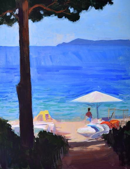 Les ombres de la plage, gouache sur papier, 34x27cm