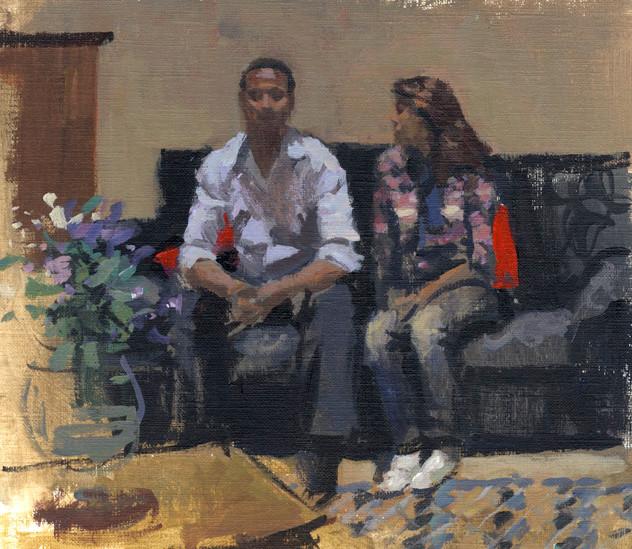 Couple à Tetouan, huile sur papier, 24x19cm