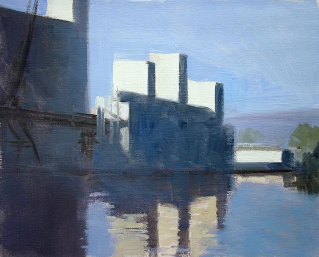 Les silos de Rouen, huile sur toile, 41x33cm