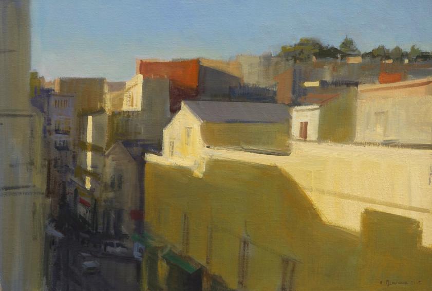 Tanger - L'aube, huile sur toile, 73x50cm