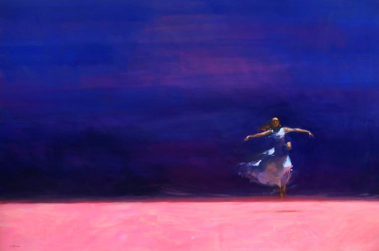 L'envol, inspiré ballet Signes, huile sur toile, 195cm x 130cm, 2015