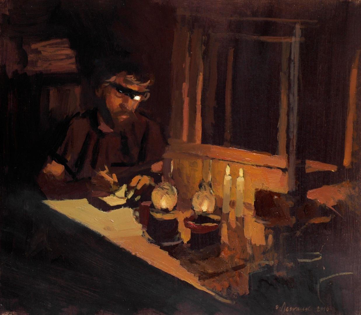 Sylvain Tesson - L'écriture du soir, huile sur papier, 30x40cm, 2010