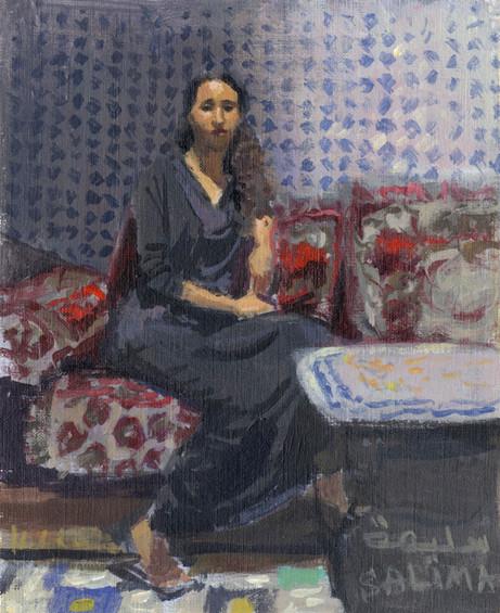 Le riad de Salima à Fès, huile sur papier, 24x19cm