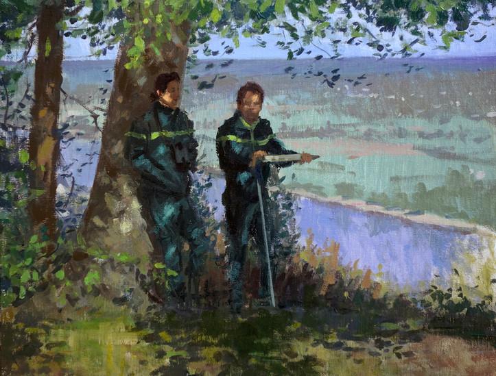 Mme Langumier et Mr Chanclou.JPG, huile sur toile, 35x27cm, 2016