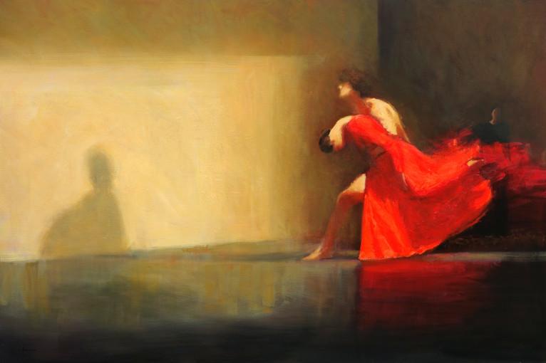 Orphée et Eurydice, huile sur toile, 195cm x 130cm, 2015