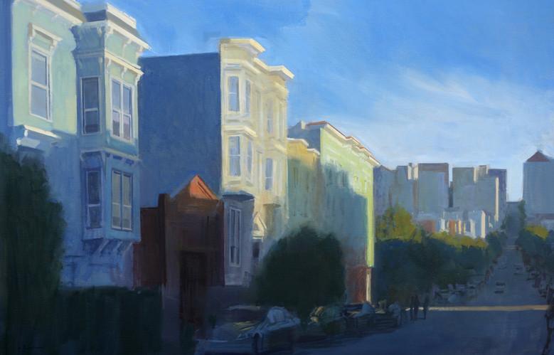 Blue street, huile sur toile, 146x97cm, 2015
