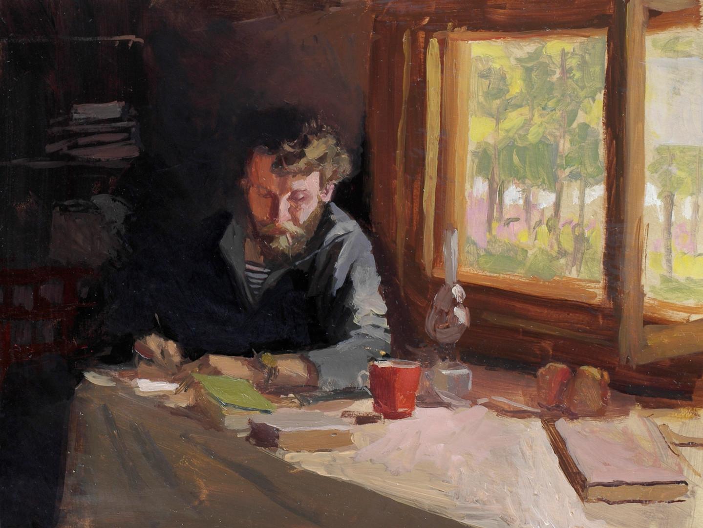 Sylvain Tesson - L'écriture matinale,huile sur papier, 30x40cm, 2010