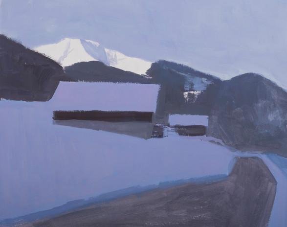 L'apparition du sommet, gouache sur papier, 34x27cm