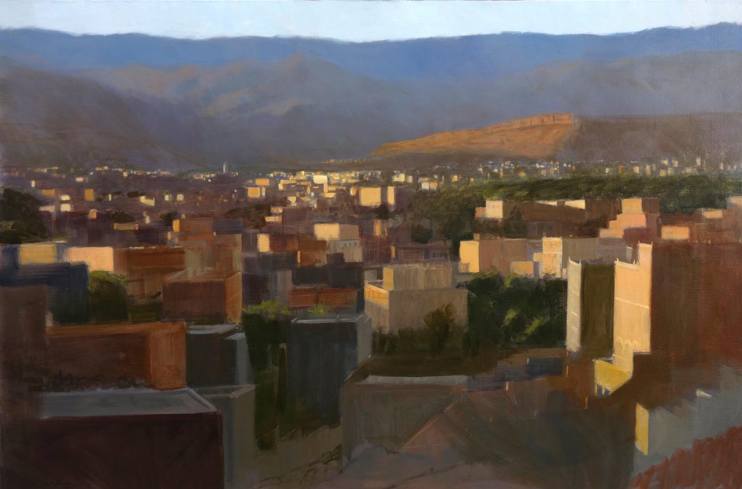 Tinghir et l'Atlas Marocain, huile sur toile, 195x130cm