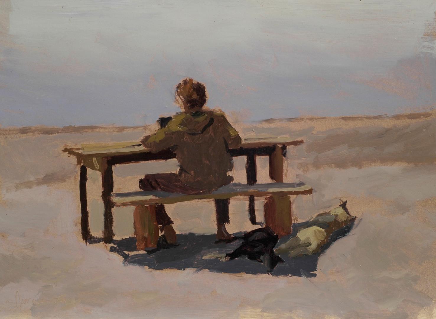 Sylvain Tesson - Ecrire face au lac, huile sur papier, 30x40cm, 2010