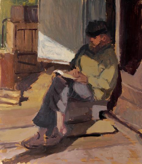 Sylvain Tesson - Lecture du soir, huile sur papier, 30x40cm, 2010