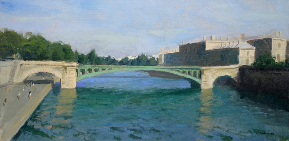 Le pont au change, huile sur toile, 60x30cm