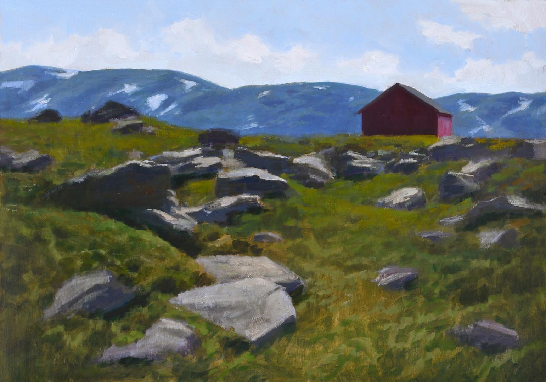 Le refuge Norvégien, huile sur toile, 92x65cm, 2019