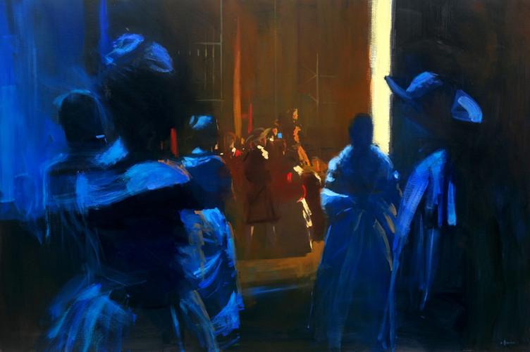 Les coulisses de l'histoire de Manon, huile sur toile, 195cm x 130cm, 2015