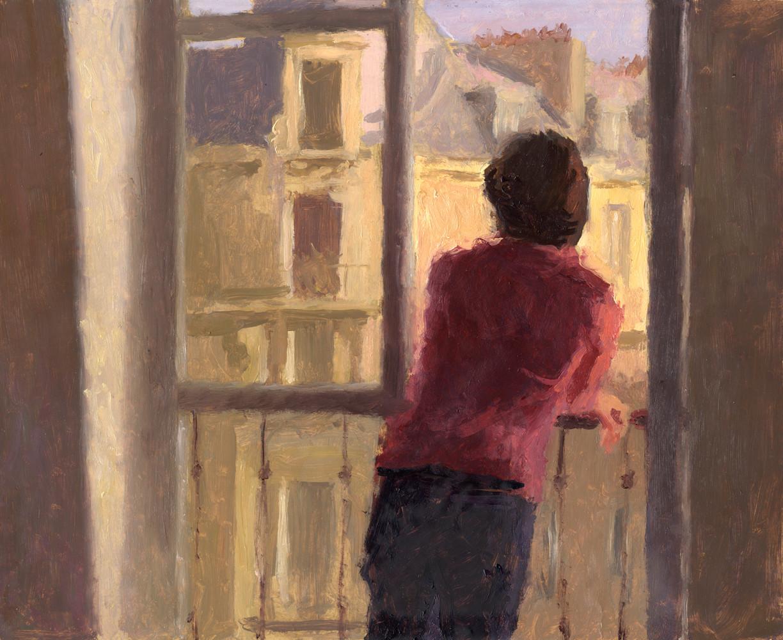 Caroline à la fenêtre, huile sur papier, 35x27cm